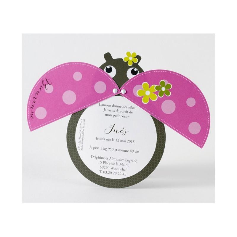 faire part de naissance fantaisie fille coccinelle rose buromac baby folly 2016. Black Bedroom Furniture Sets. Home Design Ideas