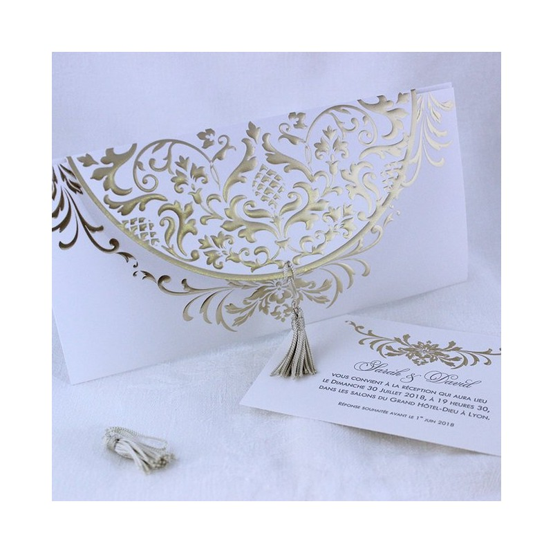 faire part mariage oriental dor pompon faire part select tandem 49465. Black Bedroom Furniture Sets. Home Design Ideas