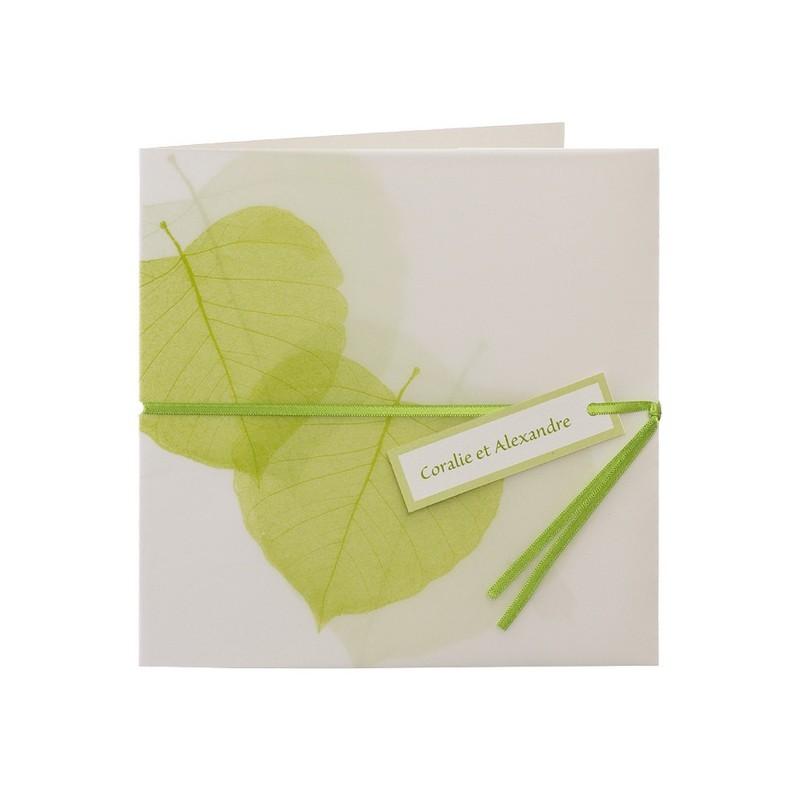 faire part de mariage elegant vert feuille nature buromac papillons. Black Bedroom Furniture Sets. Home Design Ideas