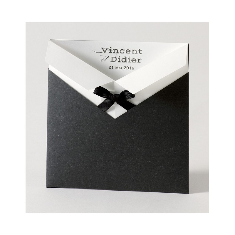 faire part de mariage gay pochette noir noeud buromac papillons 105026 - Faire Part Mariage Gay Humoristique