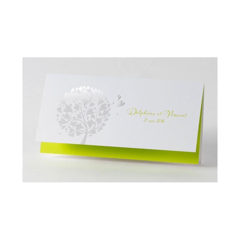 faire part de mariage fantaisie vert anis arbre dorure buromac papillons mesfairepart. Black Bedroom Furniture Sets. Home Design Ideas
