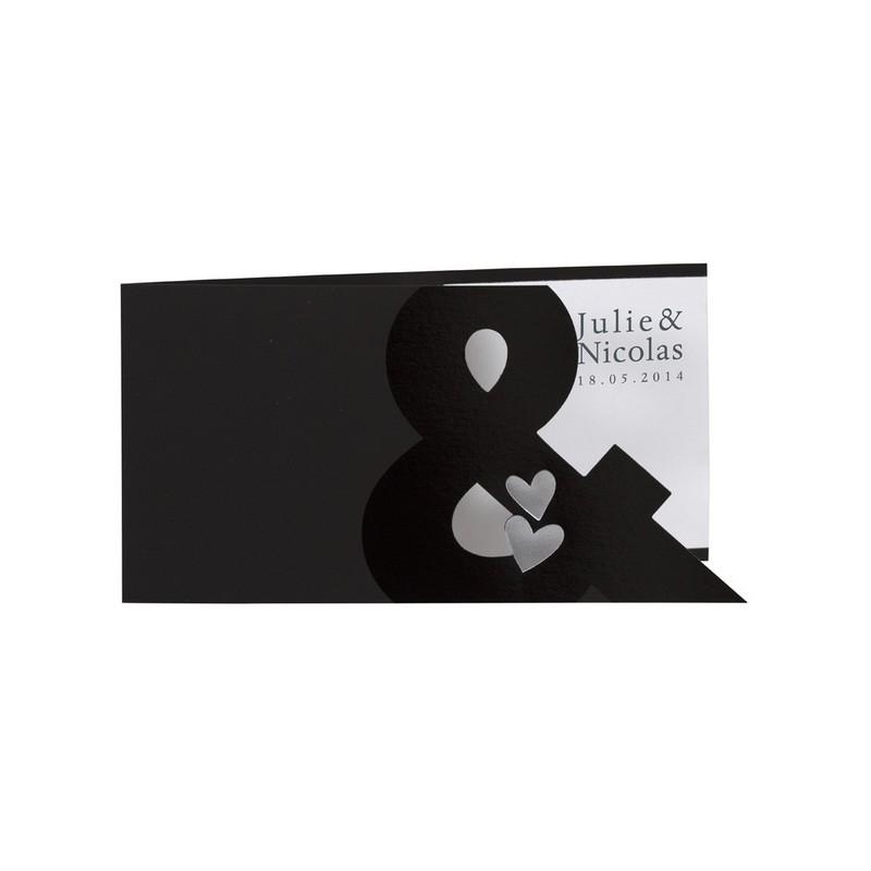 faire part de mariage fantaisiex noir blanc coeur buromac la vie en rose mesfairepart. Black Bedroom Furniture Sets. Home Design Ideas