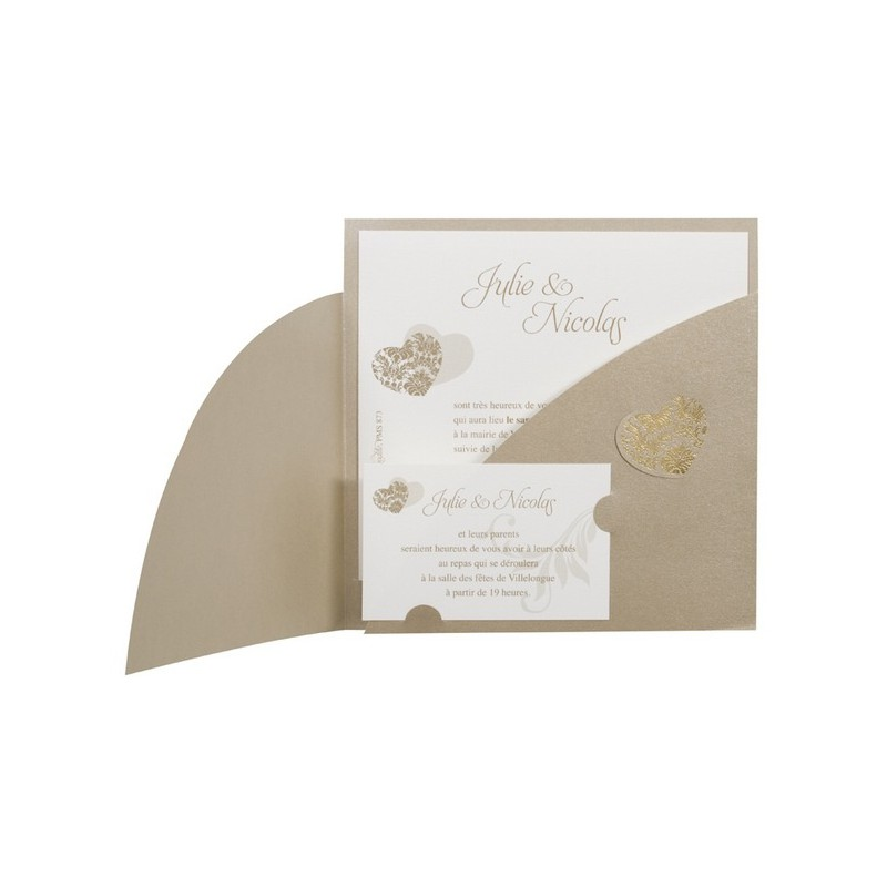 faire part de mariage vintage bronze pochette coeur dorure or buromac la vie. Black Bedroom Furniture Sets. Home Design Ideas