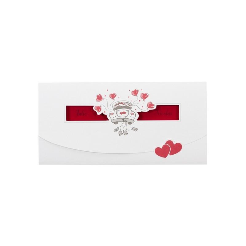 faire part de mariage humoristique rouge voiture pochette buromac la vie en rose. Black Bedroom Furniture Sets. Home Design Ideas