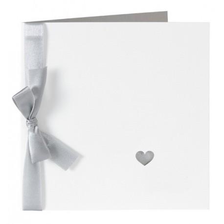 faire part de mariage chic blanc ruban gris coeur buromac 104057. Black Bedroom Furniture Sets. Home Design Ideas