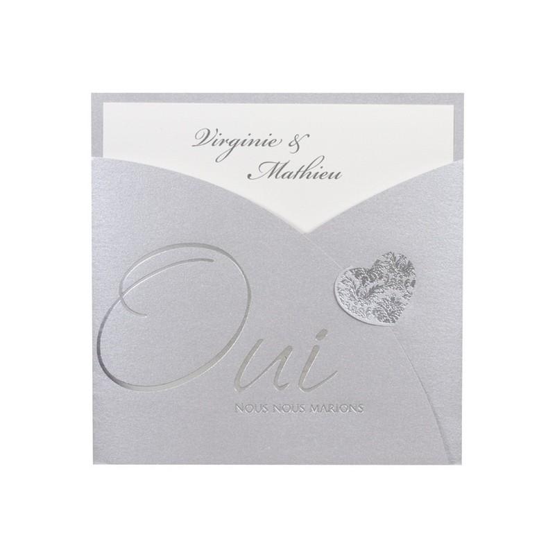 faire part de mariage fantaisie pochette gris oui coeur dorure argente buromac la vie en rose - Pochette Argente Mariage