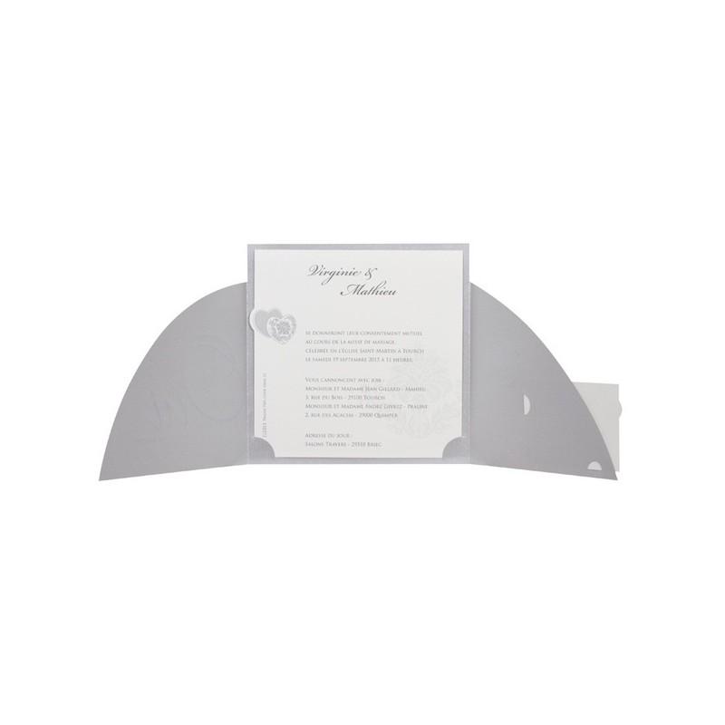 faire part mariage fantaisie coeur dorure argent e buromac112013. Black Bedroom Furniture Sets. Home Design Ideas