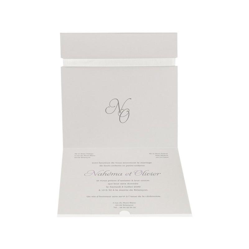 faire part de mariage moderne blanc calque ruban regalb sherazade j3140 mesfairepart
