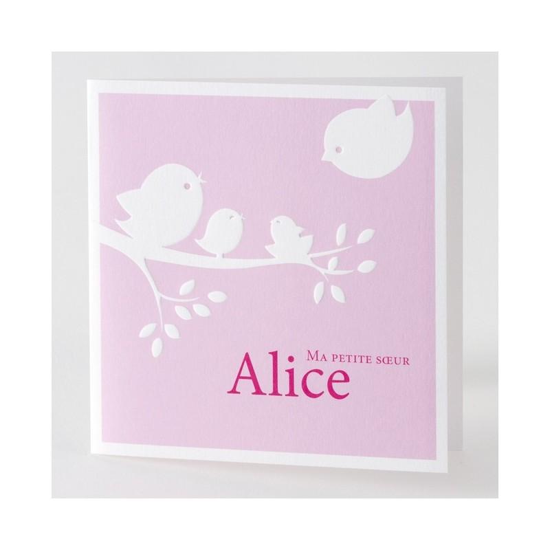 faire part naissance fille rose oiseaux buromac baby folly 01concept. Black Bedroom Furniture Sets. Home Design Ideas