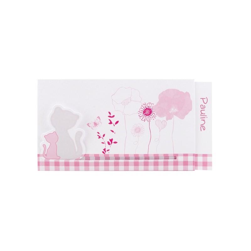Faire part de naissance coulissant fille rose chats fleurs regalb sucre d 39 - Faire part sucre d orge ...