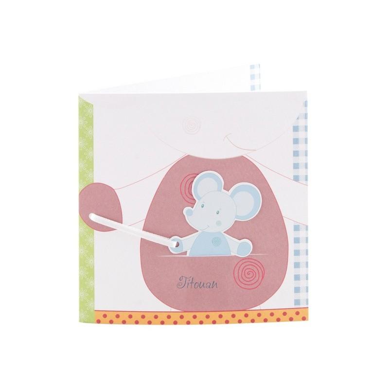 Faire part de naissance souris dans poche regalb sucre d 39 orge csl7201 m - Faire part sucre d orge ...