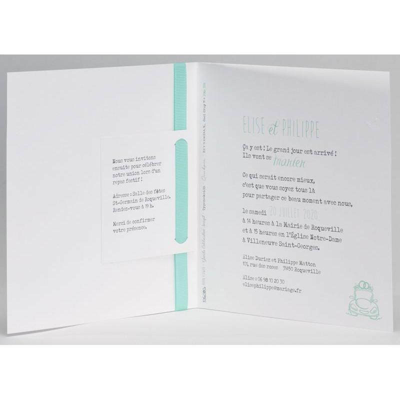 faire part mariage classique blanc ruban turquoise buromac la vie en rose mesfairepart. Black Bedroom Furniture Sets. Home Design Ideas