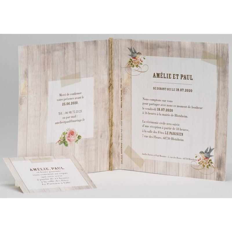 Faire part mariage nature chic bois oiseaux Buromac La Vie en Rose 106 034 Mesfairepart com  # Faire Part En Bois