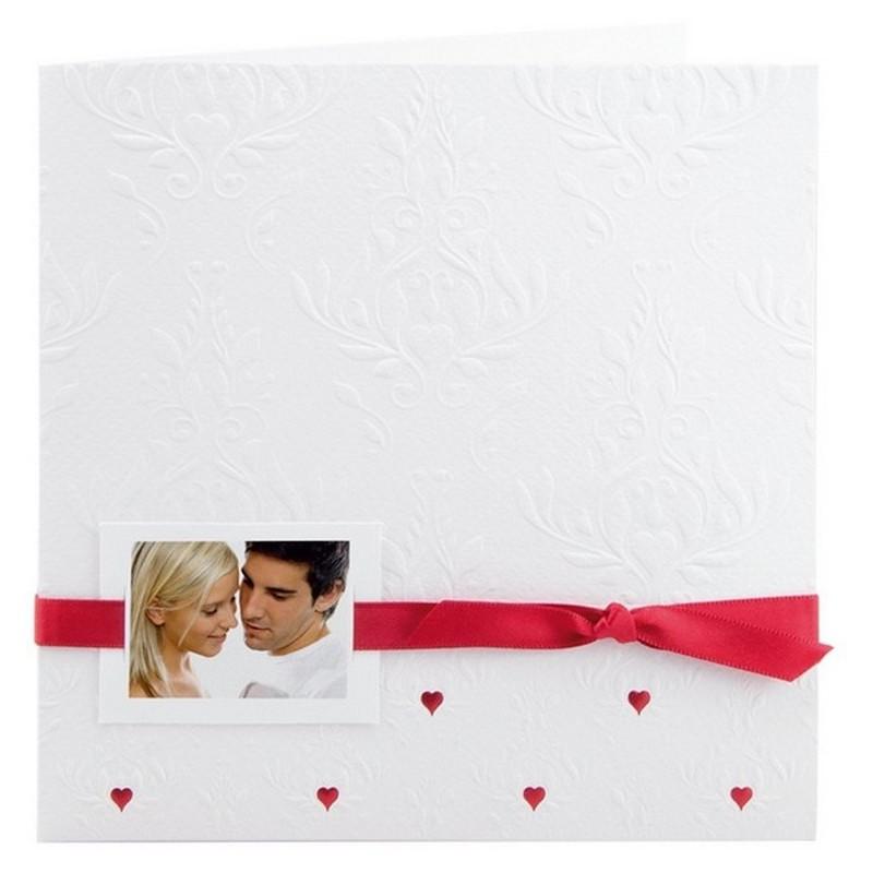 faire part mariage legant blanc arabesque ruban rouge r galb jm125 01concept. Black Bedroom Furniture Sets. Home Design Ideas