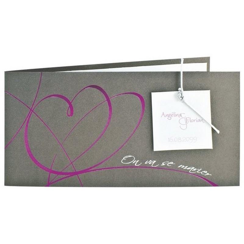 faire part mariage gris iris coeur en vernis fuschia cordon regalb jr518. Black Bedroom Furniture Sets. Home Design Ideas