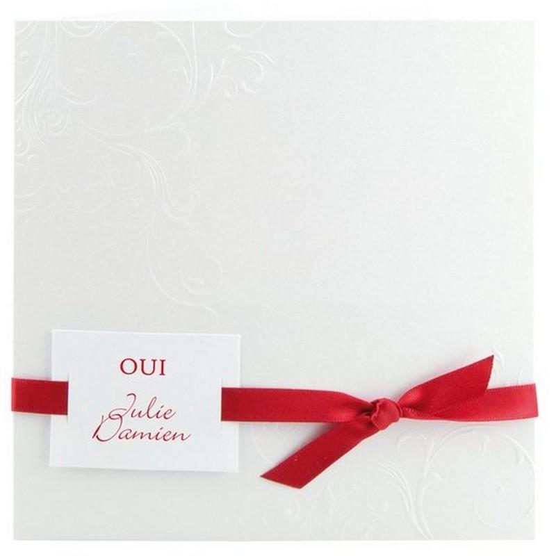 faire part mariage elegant blanc arabesque ruban rouge r galb jl226 01concept. Black Bedroom Furniture Sets. Home Design Ideas