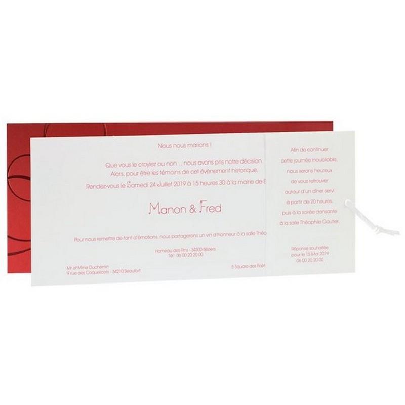 faire part mariage l gant pochette rouge arabesque lacet cuir blanc regalb jm3255. Black Bedroom Furniture Sets. Home Design Ideas
