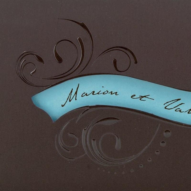 faire part mariage chic pochette marron encart turquoise. Black Bedroom Furniture Sets. Home Design Ideas