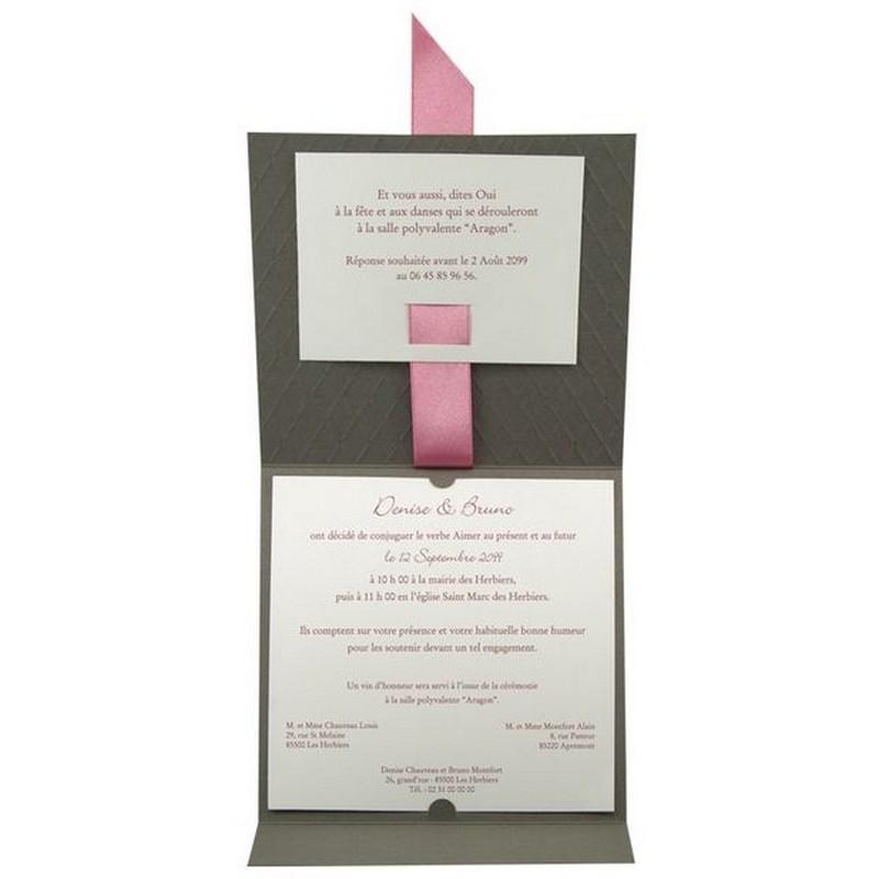 faire part mariage chic matelass iris gris ruban satin rose regalb - Faire Part Mariage Regalb