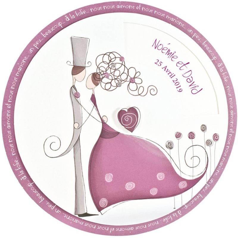faire part mariage elegant disque pivotant couple mauve regalb jh3252 - Faire Part Mariage Regalb
