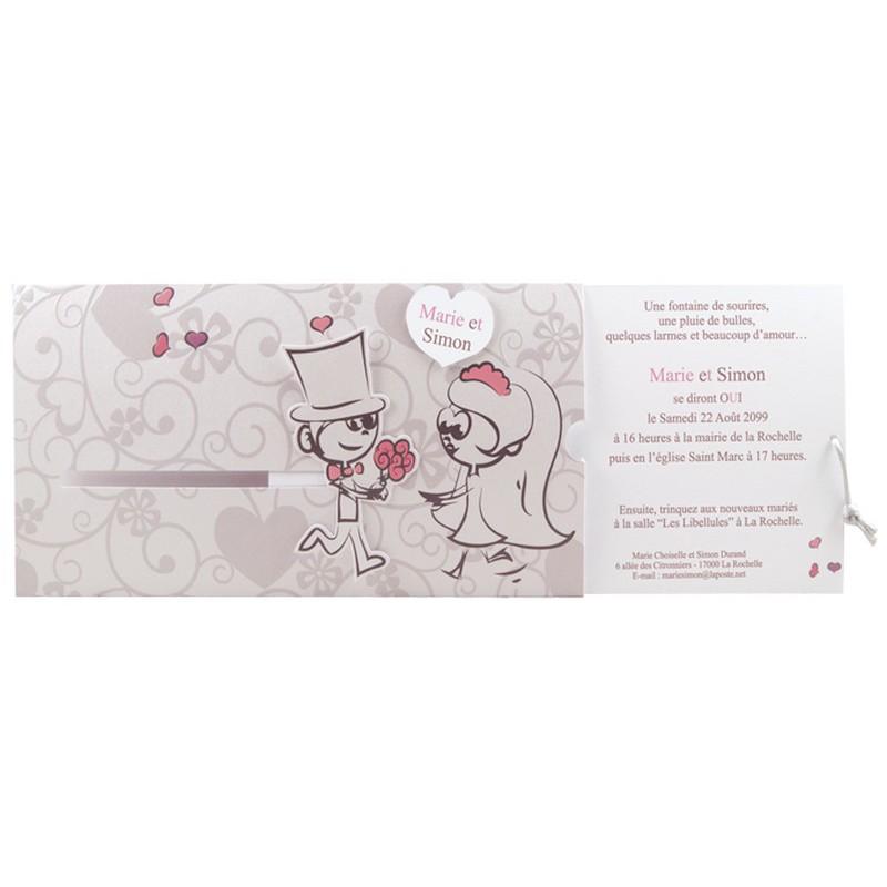 faire part mariage humoristique coulissant couple regalb jl3031 - Faire Part Mariage Regalb