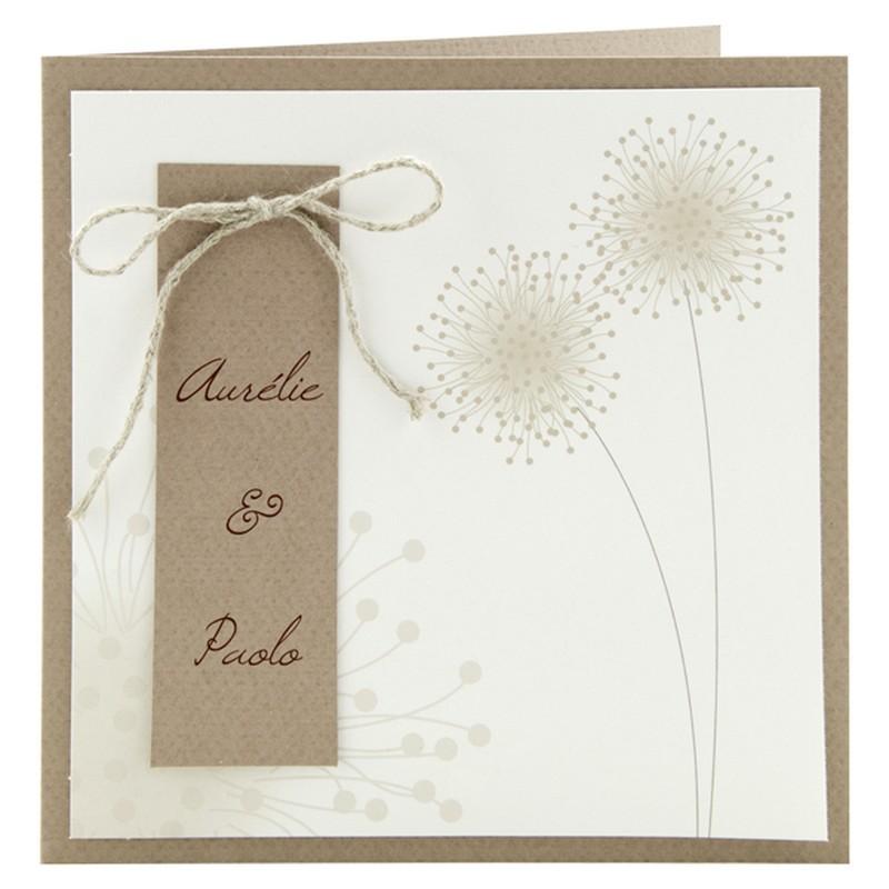 faire part mariage naturel papier kraft fleur cordelette r galb jh153 01concept. Black Bedroom Furniture Sets. Home Design Ideas