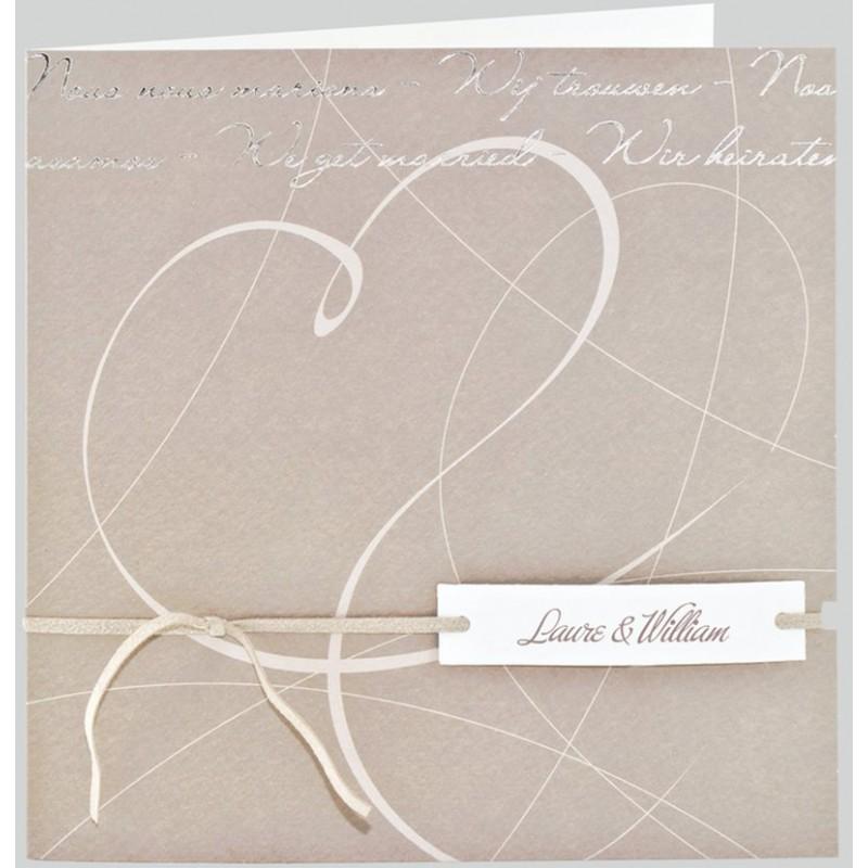 faire part mariage elegant gris taupe coeur lacet regalb. Black Bedroom Furniture Sets. Home Design Ideas