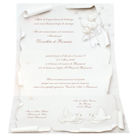 Faire-part mariage vintange colombes alliances coeur REGALB JB766 ...