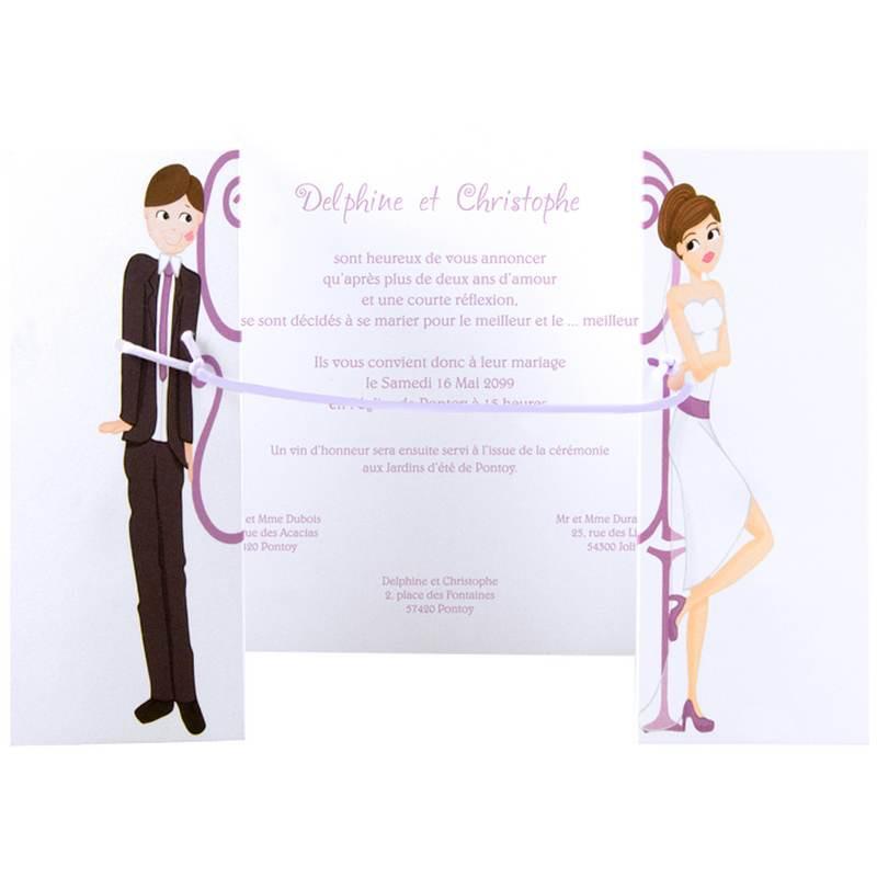 faire part mariage humoristique couple attach regalb jd3039 - Texte Faire Part Mariage Humoristique