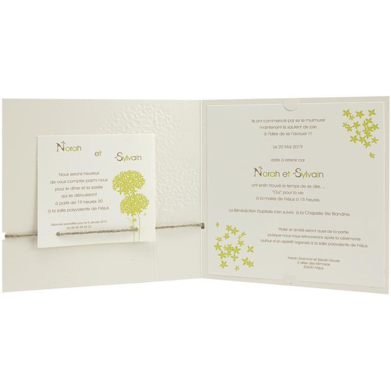 faire part mariage nature fleur vert regalb jk3280. Black Bedroom Furniture Sets. Home Design Ideas