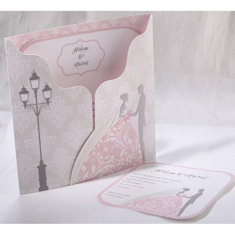 faire part mariage vintage gris rose arabesque faire part. Black Bedroom Furniture Sets. Home Design Ideas