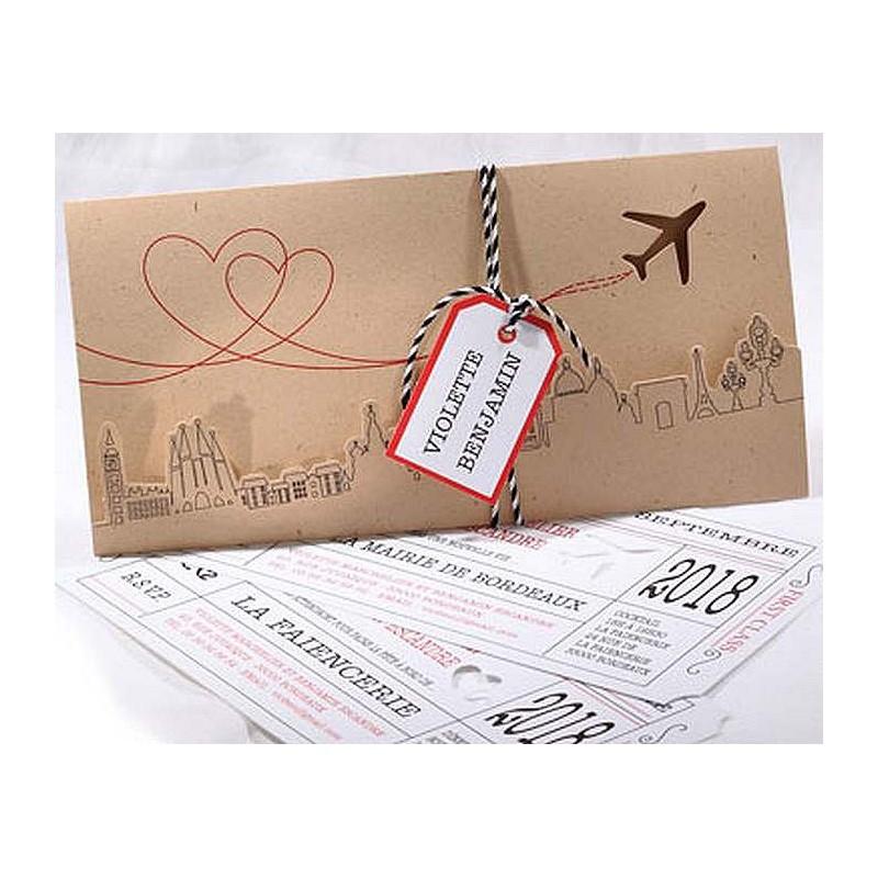 faire part mariage avion voyage billet camel faire part select duo 49526 - Faire Part Mariage Billet Avion