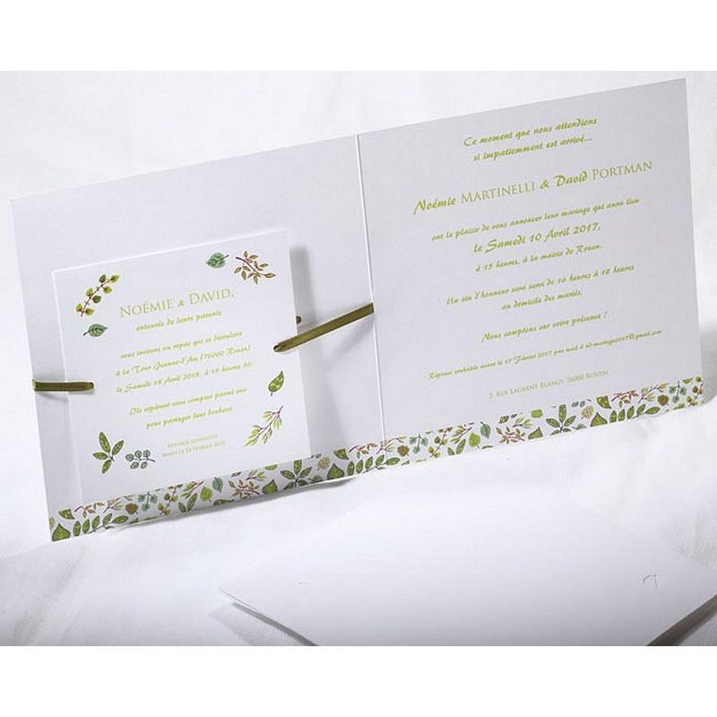 faire part mariage chic nature blanc vert faire part select duo 49539 mesfa. Black Bedroom Furniture Sets. Home Design Ideas