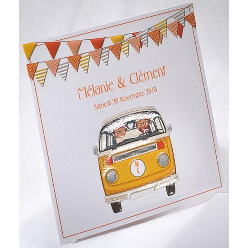 faire part mariage original vintage combi orange faire part select duo 49542. Black Bedroom Furniture Sets. Home Design Ideas