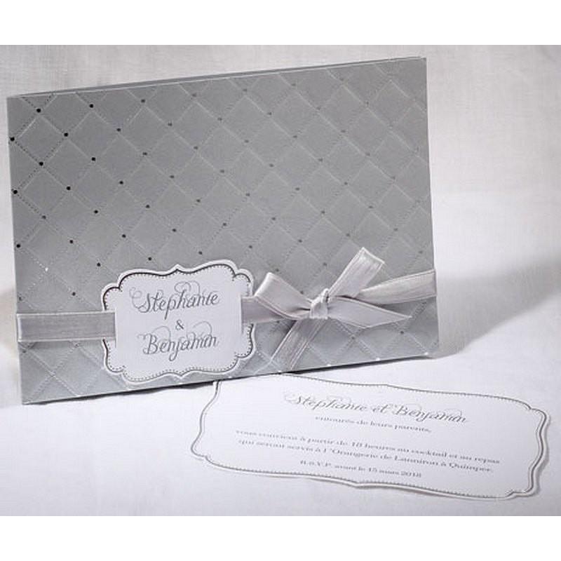 faire part mariage gris matelass argent faire part select duo 49553 01concept. Black Bedroom Furniture Sets. Home Design Ideas
