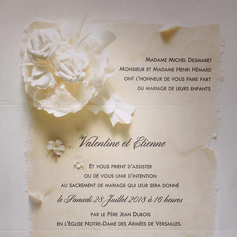 faire part mariage romantique fleur cr me faire part select duo 49564 01concept. Black Bedroom Furniture Sets. Home Design Ideas