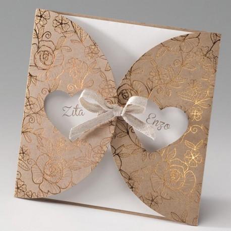 faire part mariage nature chic papier cologique dorure belarto bella 725085 w mesfairepart. Black Bedroom Furniture Sets. Home Design Ideas