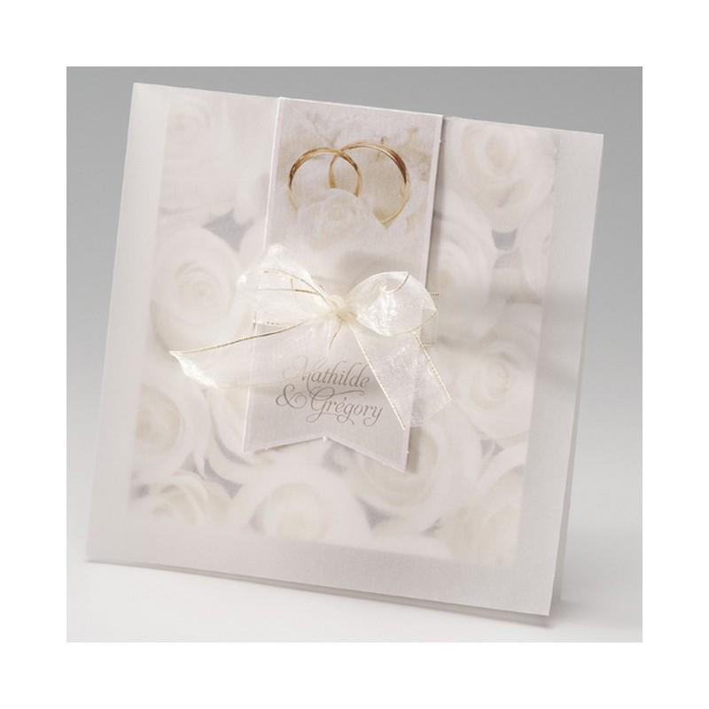 faire part mariage romantique chic roses blanches ruban dorure belarto bella 725031. Black Bedroom Furniture Sets. Home Design Ideas