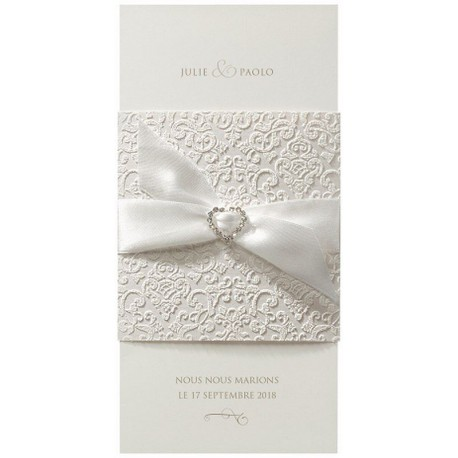 Faire-part mariage élégant crème arabesque encre de Suède - Belarto Love 726066