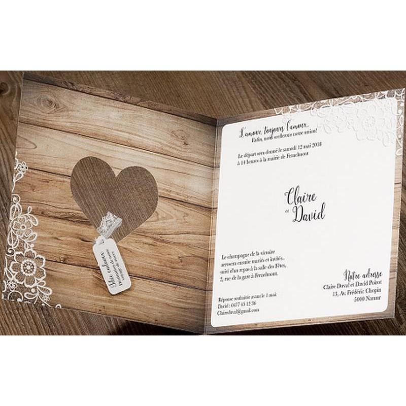 Faire part mariage romantique chic bois fleurs dentelle Belarto Love 726003 Mesfairepart com  # Faire Part En Bois