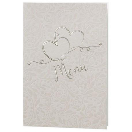Menu mariage crème fleurs vernies coeurs dorés - Belarto Romantic 726653