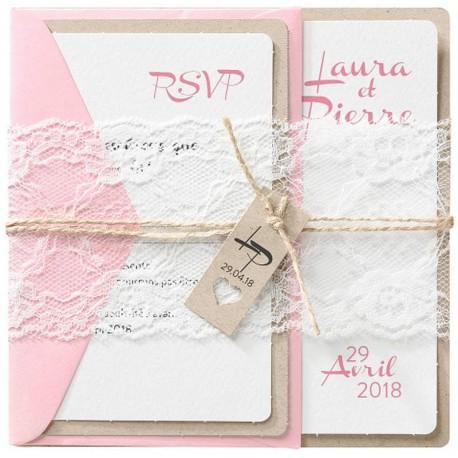 faire part mariage original romantique cordelette dentelle belarto romantic 726059. Black Bedroom Furniture Sets. Home Design Ideas