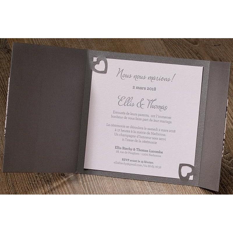 faire part mariage romantique gris dentelle ruban roses. Black Bedroom Furniture Sets. Home Design Ideas