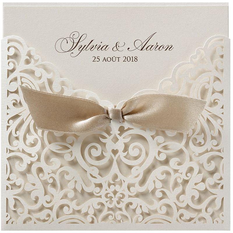 faire part mariage pochette beige fa on dentelle ruban belarto romantic 726047 mesfairepart. Black Bedroom Furniture Sets. Home Design Ideas