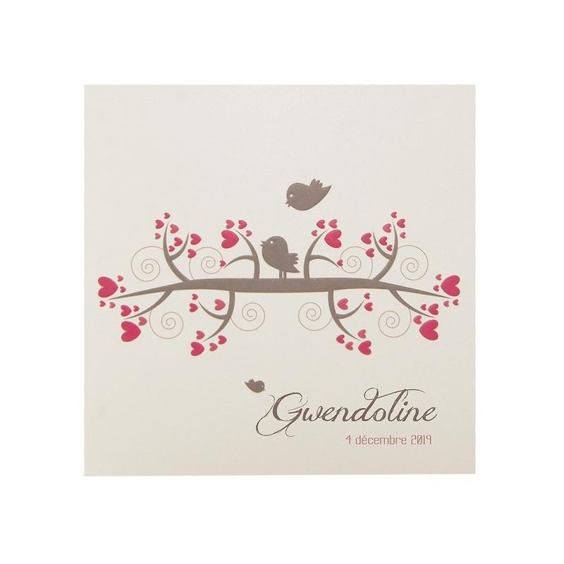 faire part naissance vintage oiseaux coeur rouge regalb carrousel ce6280. Black Bedroom Furniture Sets. Home Design Ideas