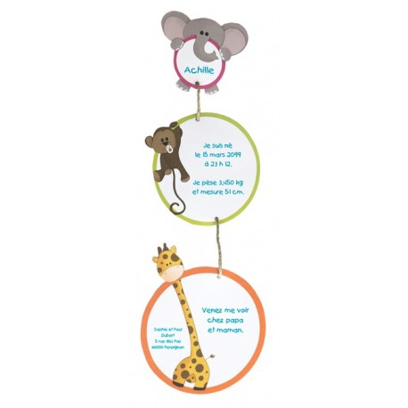 Faire-part Naissance mobile animaux jungle  Regalb Carrousel CE7082