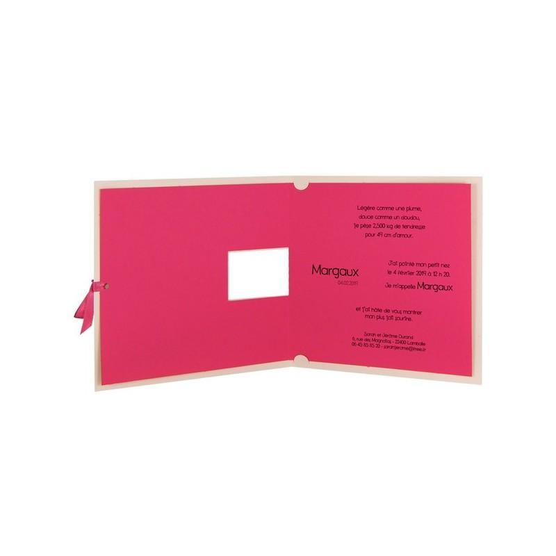faire part naissance fille fuchsia cigogne ruban regalb carrousel cj6234. Black Bedroom Furniture Sets. Home Design Ideas