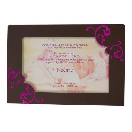 Faire part de naissance chevalet porte photo marron arabesque fuchsia  Regalb Carrousel CK6312