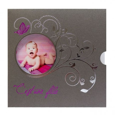 Faire-part Naissance chic taupe argenture papillon photo Regalb Carrousel CL6314