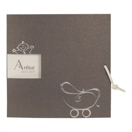 Faire-part Naissance chic gris ecru argenture ruban Regalb Carrousel CT7287